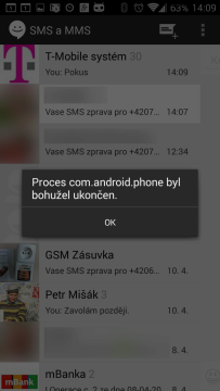 Pád procesu com.android.phone