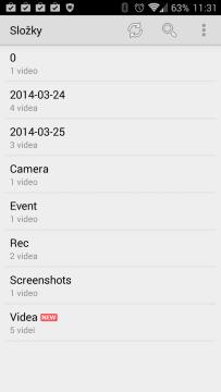 MX Player: složky s videy