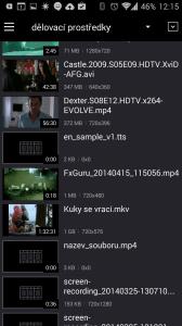 KMPlayer: seznam nalezených videí
