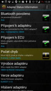 Adapter status: zjištěna jedna chyba
