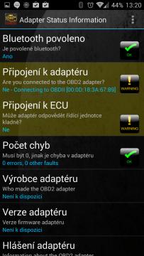 Adapter status: problém s připojením k adaptéru