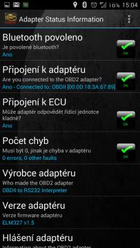 Adapter status: vše kolem připojení OK
