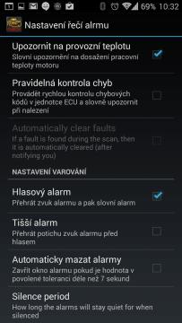Nastavení řeči alarmu