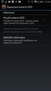 Nastavení externí GPS