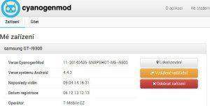 Správa účtu CyanogenMod