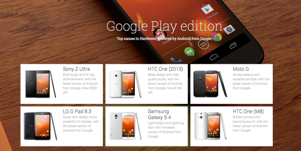V nabídce zařízení Google Play Edition byl zaměněn snímek Galaxy S4 za S5