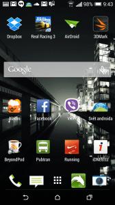 HTC One M8 recenze - domovská obrazovka