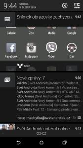 HTC One M8 recenze - notifikační lišta