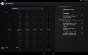 Sony Xperia Z2 Tablet - Ekvalizér zvuku
