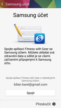Propojení aplikace s účtem Samsung
