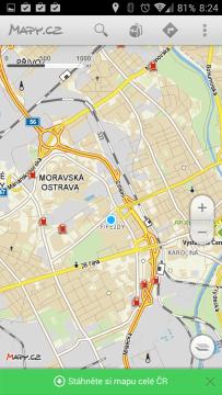Mapy.cz: zobrazení mapy