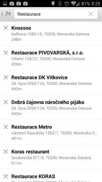 Mapy.cz: vyhledávání bodů zájmu