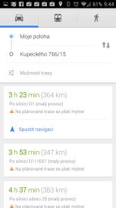 Mapy Google: výběr trasy k cíli
