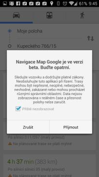 Mapy Google: Navigace je ve fázi beta