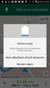 Mapy Google: funkce zhasínání obrazovky