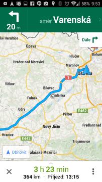 Mapy Google: náhled trasy