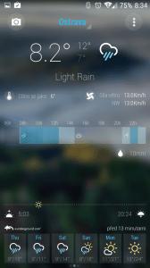 Druhá plocha aplikace Bright Weather