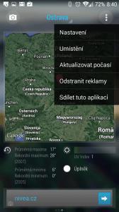 Hlavní nabídka aplikace Bright Weather