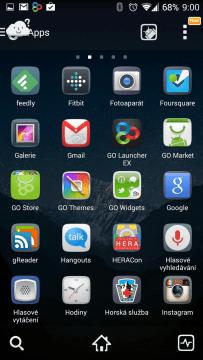 GO Launcher: původní vzhled