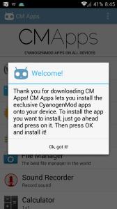 CMapps: uvítací dialog