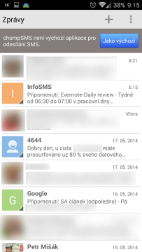 chomp SMS není výchozí aplikací pro odesílání SMS