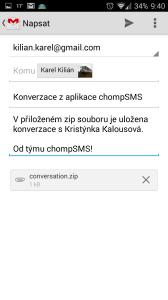 Odeslání konverzace s kontaktem e-mailem