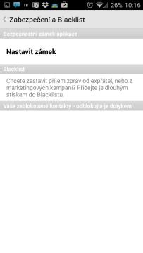 Zabezpečení a Blacklist
