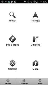 MapFactor: GPS Navigation: hlavní obrazovka