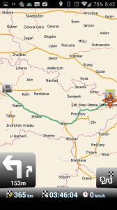 MapFactor: GPS Navigation: vypočtená trasa