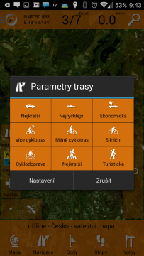 SmartMaps: GPS Navigace a Mapy: parametry trasy