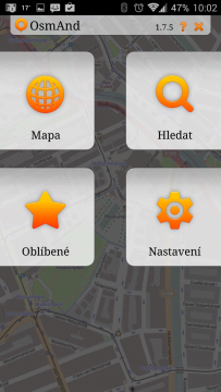 OsmAnd Mapy a Navigace: úvodní obrazovka