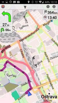 OsmAnd Mapy a Navigace: navigace