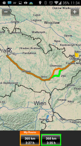 NAVIGON Europe: naplánovaná trasa