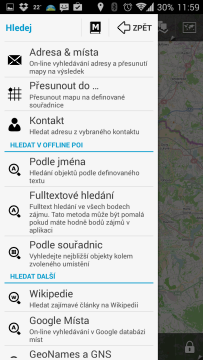 Locus Map Pro – Outdoor GPS: vyhledávání