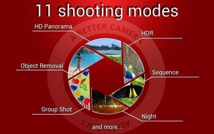 A Better Camera nabízí 11 fotografických režimů