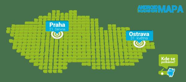 Android RoadShow mapa Ostrava a Praha