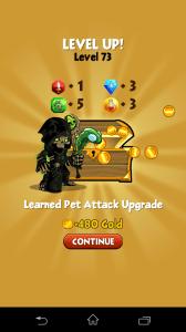 battle gem - výhra, level up a peníze