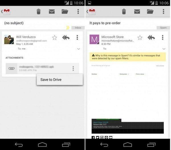 Ukládání příloh na Disk Google a vysvětlení důvodů, proč byla zpráva zařazena do spamu