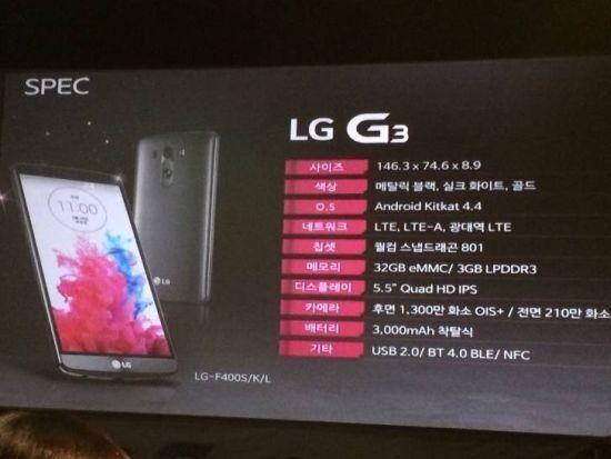 Technické parametry LG G3