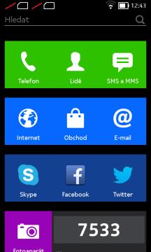 Nokia X recenze - domovská obrazovka
