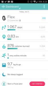 Fitbit 1.9.4: sekce Dashboard