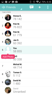 Fitbit 1.9.4: žebříčky dle kroků