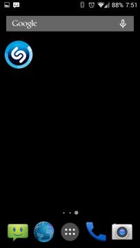 Shazam disponuje jediným widgetem o velikosti 1×1