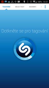 Shazam: hlavní obrazovka
