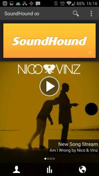 SoundHound: hlavní obrazovka