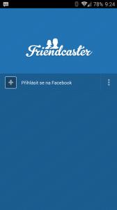 Po prvním spuštění následuje přihlášení k Facebooku