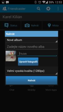 Tlačítkem Nahrát nahrajete obrázek nebo video