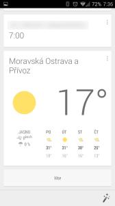Chytré karty Google: Předpověď počasí