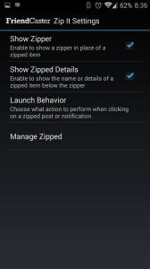 Nastavení funkce Zip It