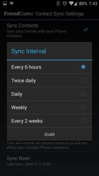 Nastavení synchronizace kontaktů